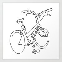 Blind Contour Bicycle Art Print