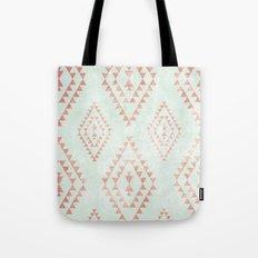 mint & coral tribal pattern Tote Bag