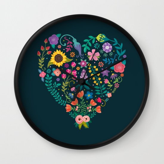 Floral Heart Wall Clock