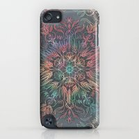 iPod Touch Cases featuring Winter Sunset Mandala in Charcoal, Mint and Melon by micklyn
