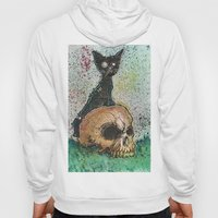 Black Cat with a Skull Hoody
