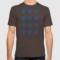 16 Hearts Navy Mens Fitted Tee Brown SMALL