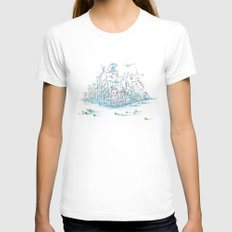 Scientist Frog Womens Fitted Tee White SMALL