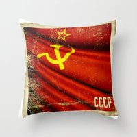 Sticker of Soviet Union (1922-1991) flag Throw Pillow
