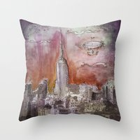 Boat Over The City Throw Pillow