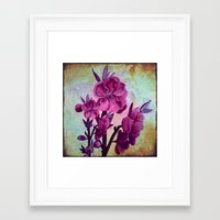 Pink Flowers And Rust Framed Art Print