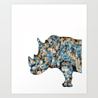 Rhino-no text Art Print