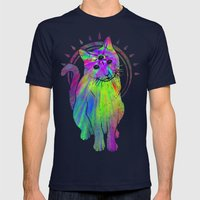Psychic Psychedelic  Cat Mens Fitted Tee Navy SMALL