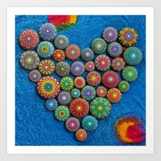 Mandala Stone Love Heart Art Print