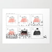 Cat Lady Heads Out Art Print