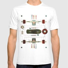 The Anatomy of a Skateboard White SMALL Mens Fitted Tee