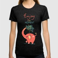 Enjoy the Moment Womens Fitted Tee Tri-Black SMALL