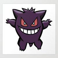 Gengar The Ghost - First Generation Pocket Monsters Design Cartoon Art Print