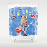 Alice Winter Wonderland, Christmas Design Shower Curtain