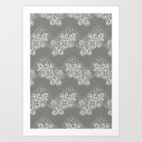 White on Grey Lace Art Print
