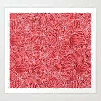 Spiderwebs - Webs On Red… Art Print