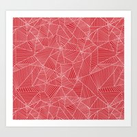 Spiderwebs - Webs on red background Art Print