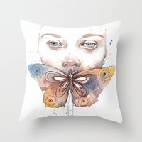 Butterfly, Watercolor Throw Pillow