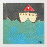 Red Sailboat Canvas Print