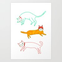 Lying Cats Art Print