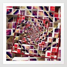 Infinite Rotating 3D Cubes Art Print