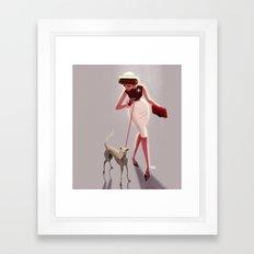 50s dogwalker  Framed Art Print