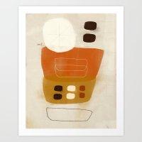 Brown and Cream Pebbles in Basket Art Print