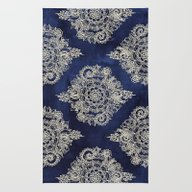 Rug featuring Cream Floral Moroccan Pa… by Micklyn