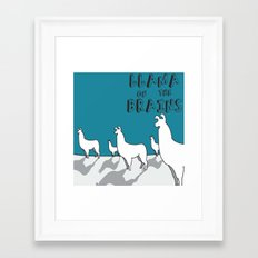 Llama on the Brains 2 Framed Art Print