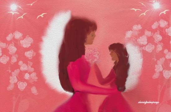 MOM AND DAUGHTER ANGELS Art Print