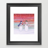 Snowmen With Popsicles Framed Art Print