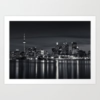 Toronto Skyline At Night From Polson St No 2 Black and White Version Art Print