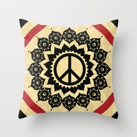 Peace Mandala Throw Pillow