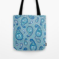 Muted Turquoise Paisley Tote Bag