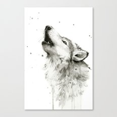 Wolf Howling Watercolor Wildlife Painting Canvas Print