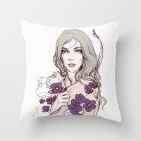 Birth Flower II - Violet Throw Pillow