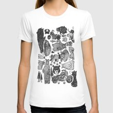 Bear and motorcycles Womens Fitted Tee White SMALL