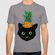 Pineapple Kitty Mens Fitted Tee Tri-Grey SMALL