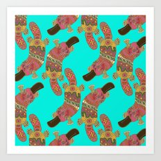 duck-billed platypus turquoise Art Print