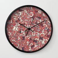 A1B2C3 coral red Wall Clock