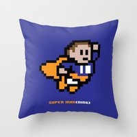 8-Bit: Super Man(ning) Throw Pillow