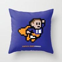 8-Bit: Super Man(ning) Throw Pillow