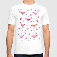 Birds and Blossoms Mens Fitted Tee White SMALL