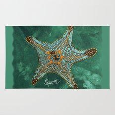 Starfish on Teal. Rug