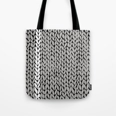 Grey Knit With White Stripe Tote Bag