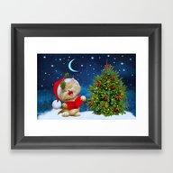 New Year Singing Cat Framed Art Print