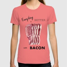 Everything is better with Bacon Womens Fitted Tee Pomegranate SMALL