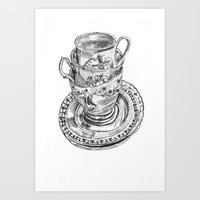 Stacked Tea Cups Art Print