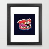 Framed Art Print featuring Blingteeth by Minniemorrisart