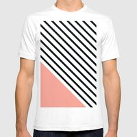 Diagonal Block - Pink Mens Fitted Tee White SMALL
